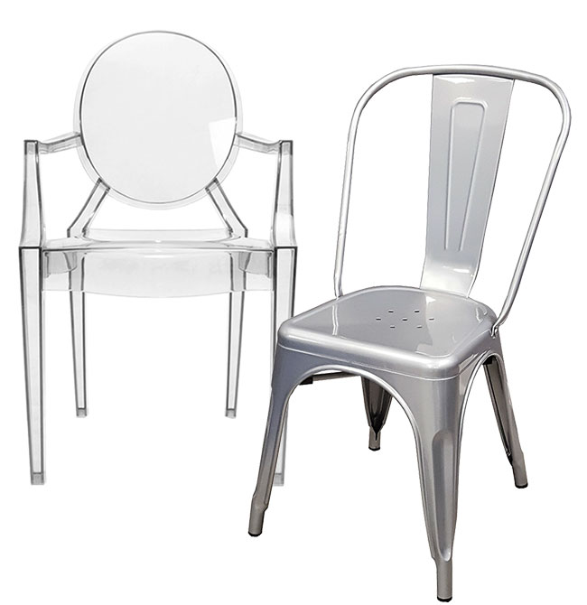 Chaise Ghost et Chaise Tolix